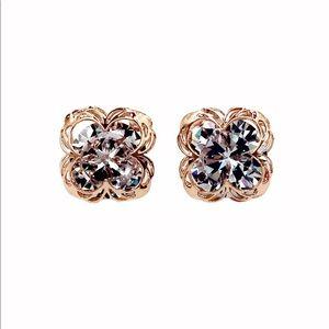 Rose gold  sweet flower side crystal earrings